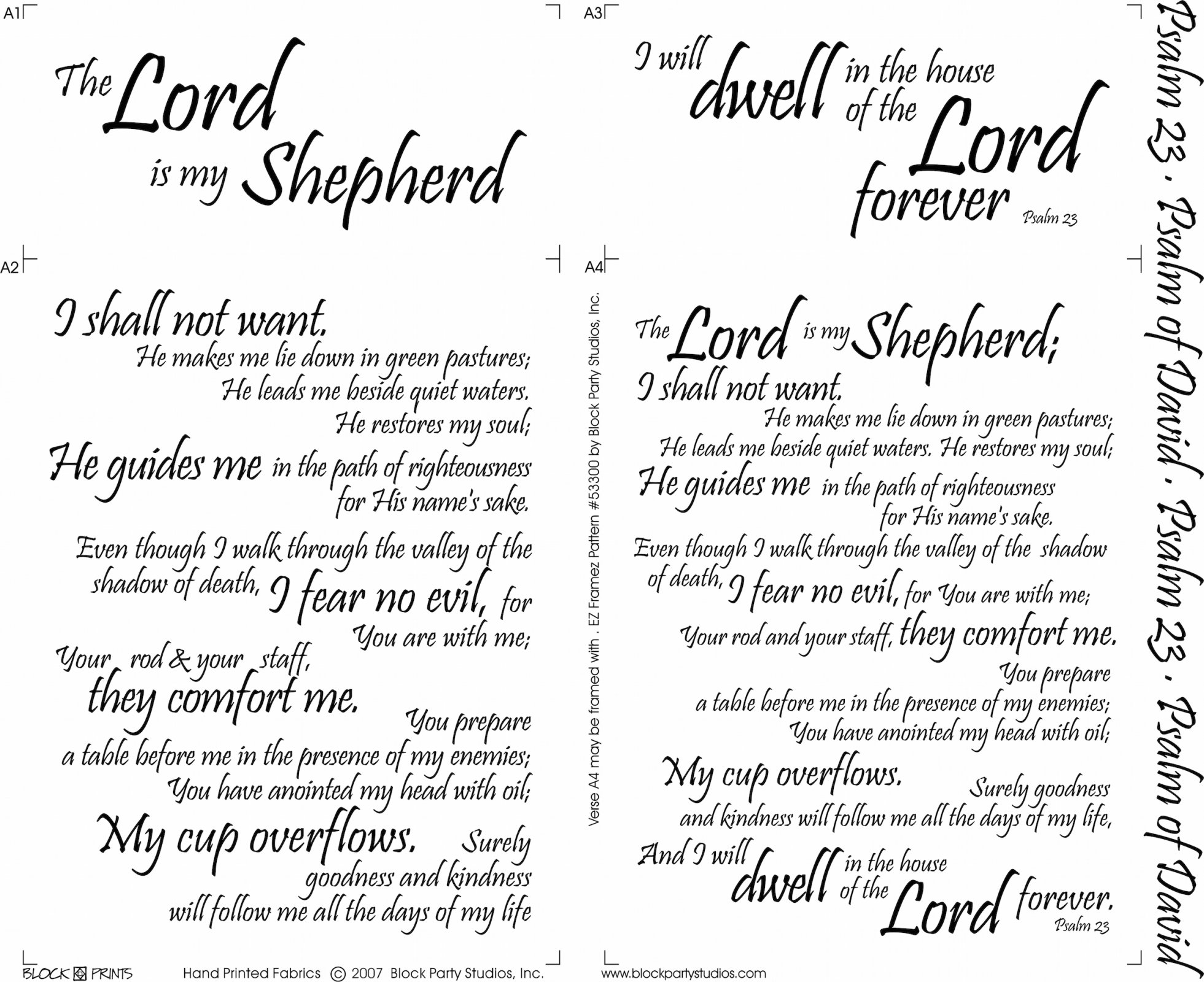 Psalm 23 Quilt Fabric Panel