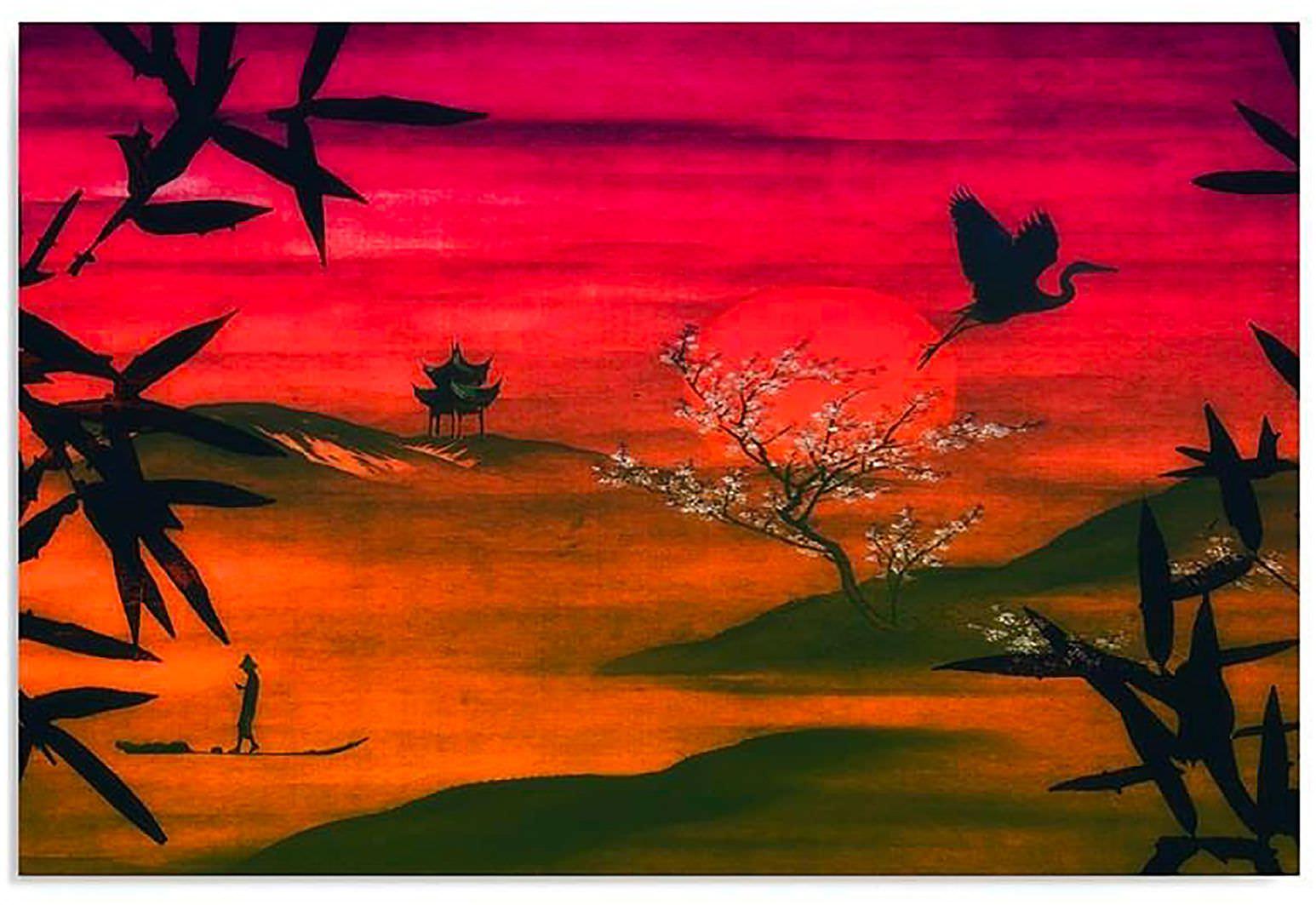 tableau bois japon paysage feeby