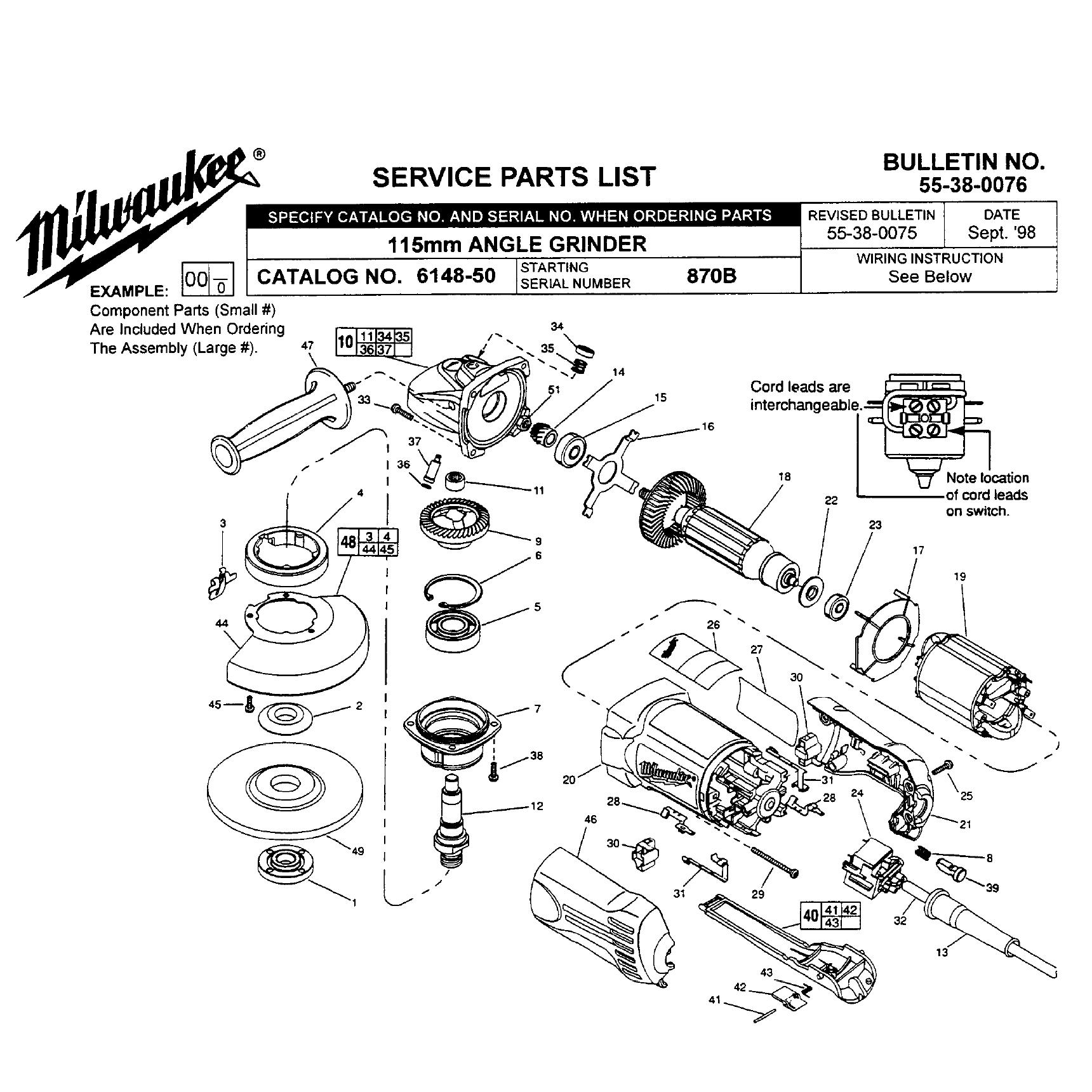Milwaukee 50 870b Parts List