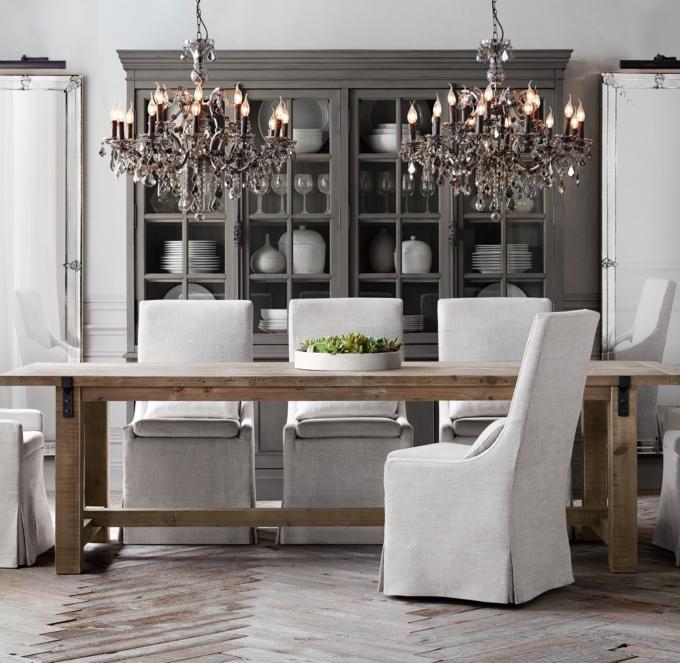 Reclaimed Wood Amp Zinc Strap Rectangular Dining Table