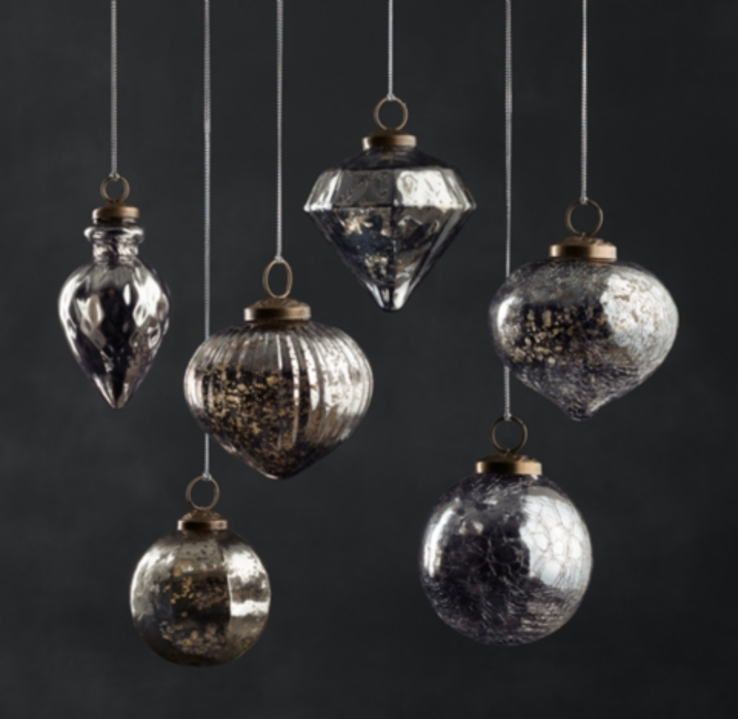 Vintage Handblown Glass Ornament Collection Smoke