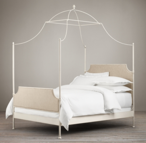 19th C Campaign Fabric Iron Canopy Bed