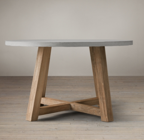 Salvaged Wood Amp Weathered Concrete Beam Round Dining Table