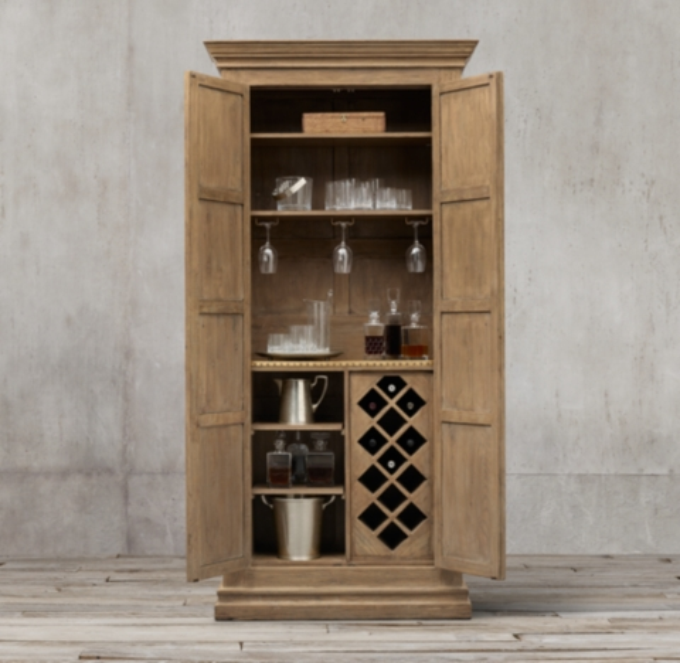 17th c castello double door bar cabinet