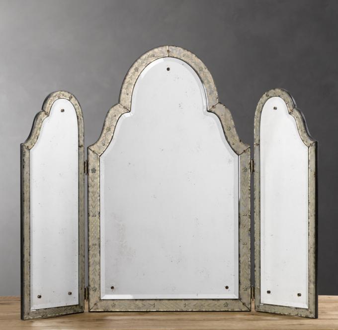 17th C Venetian Silver Leaf Triptych Mirror