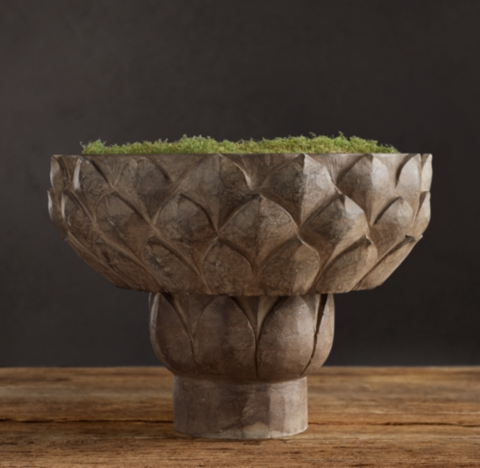 Hand Carved Stone Lotus Bowl