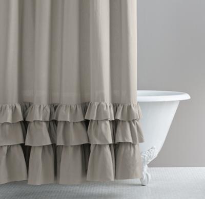 frayed ruffle shower curtain