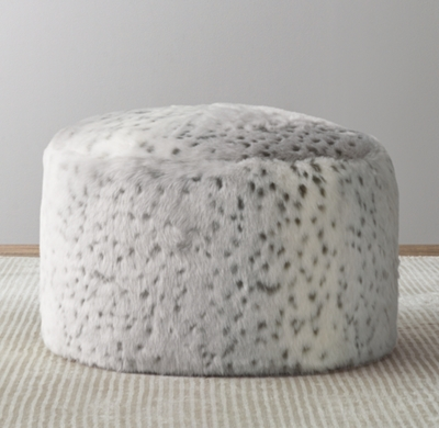 luxe faux fur round pouf grey snow