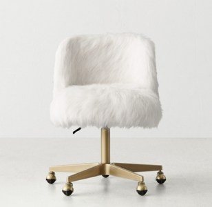 Alessa Kashmir Faux Fur Desk Chair   Antiqued Brass