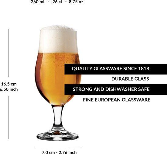libbey munique bierglas 260 ml 26 cl set van 6 op voet functioneel design hoge kwaliteit
