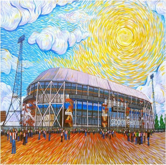schilderij de kuip als van gogh feyenoord stadion rotterdam hoogwaardig canvas houten frame 60 x 60 cm erika stanley art for all