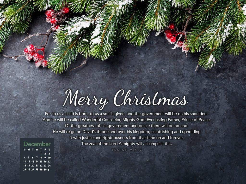 December 2016 Isaiah 96 7 Desktop Calendar Free