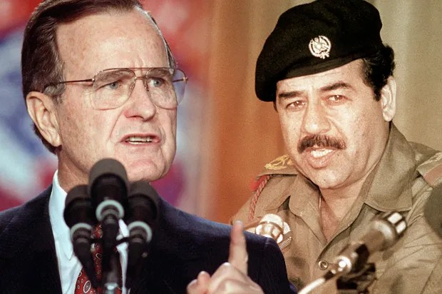 Image result for SADDAM HUSSEIN AND gEORGE BUSH