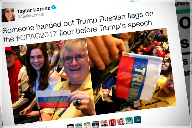 "Someone at CPAC handed out Russian flags with ""Trump"" written in bold"