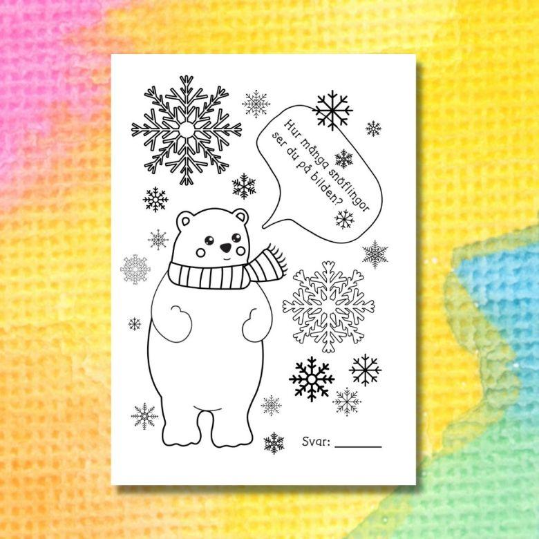 målarbild med isbjörn och snöflingor