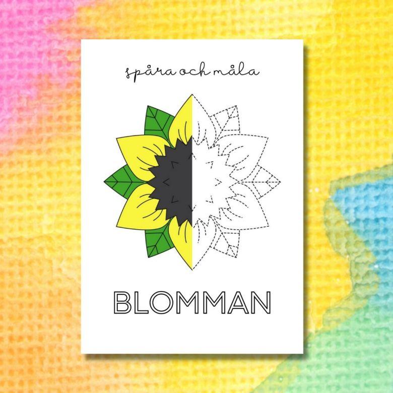 spåra och måla blomma printable