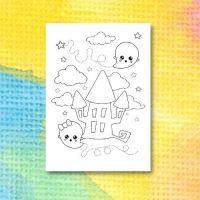 Halloweenmålarbild med spöken och spökhus