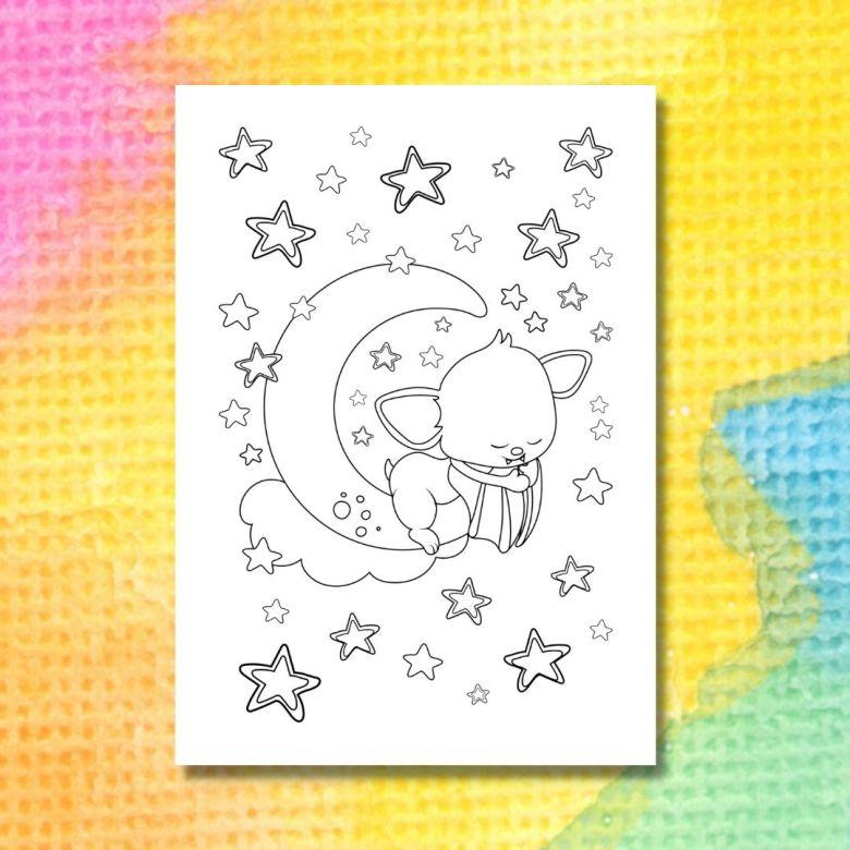 halloweenmålarbild med sovande fladdermus