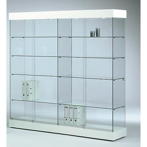 grande vitrine en verre sur pied grenat blanc