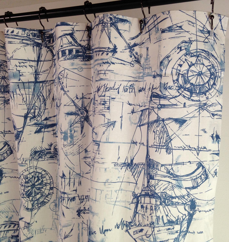 beachhouse shower curtain schooner nautical long shower curtain long shower curtain 72 x 84 72 x 90 72 x 96