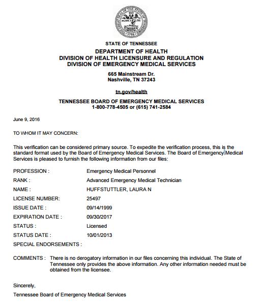 laura sweazy huffstuttler nashville fire state license verification
