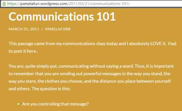 comm101 pamela furr are you controlling your message