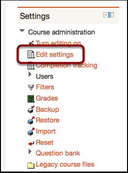 Edit course settings