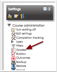 Click Grades under Course administration