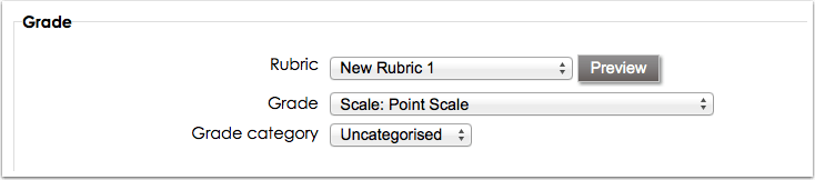 Select rubric for assignment grading