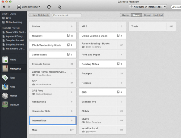 Create Notebook in Evernote