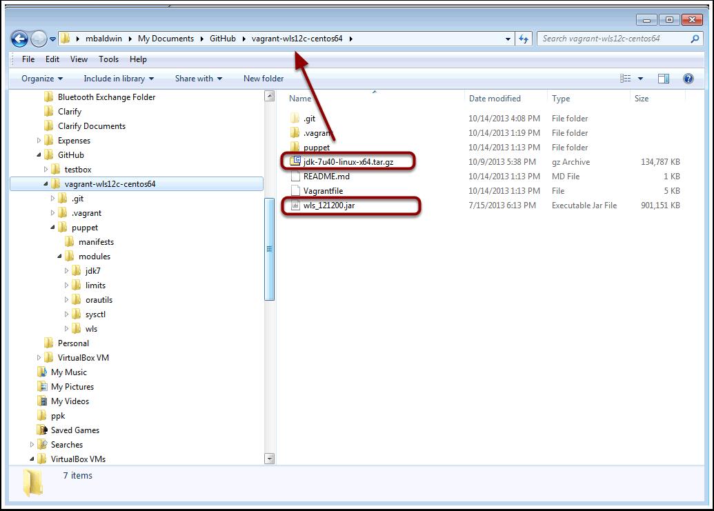 Add downloaded wls_121200.jar and jdk-7u40-linux-x64.tar.gz