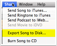 Exporting your track