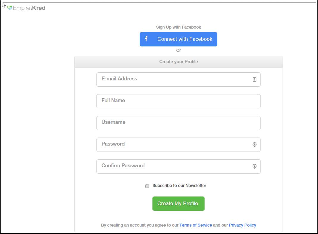 Registering on Empire.Kred