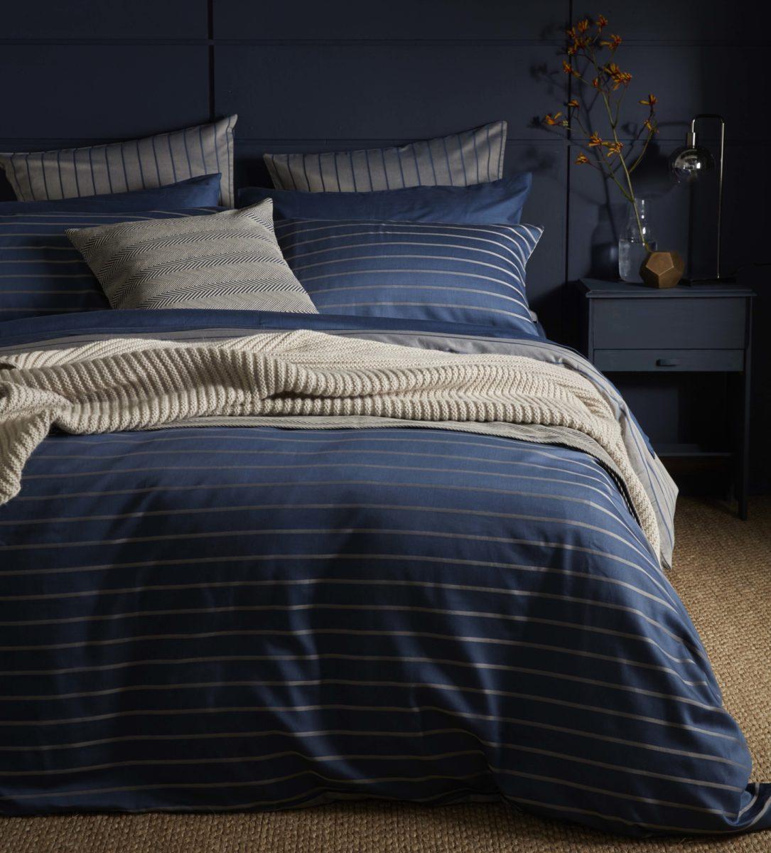breton stripe dark blue bed linen secret linen store