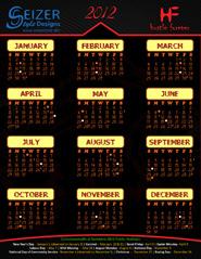 2012 Calendar Hustle Black