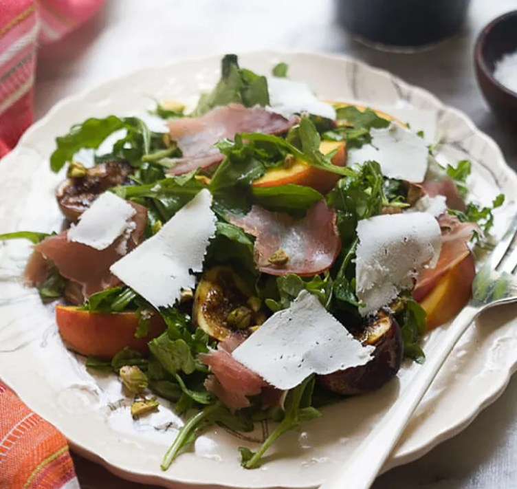 Grilled Fig and Peach Arugula Salad from A Cozy Kitchen