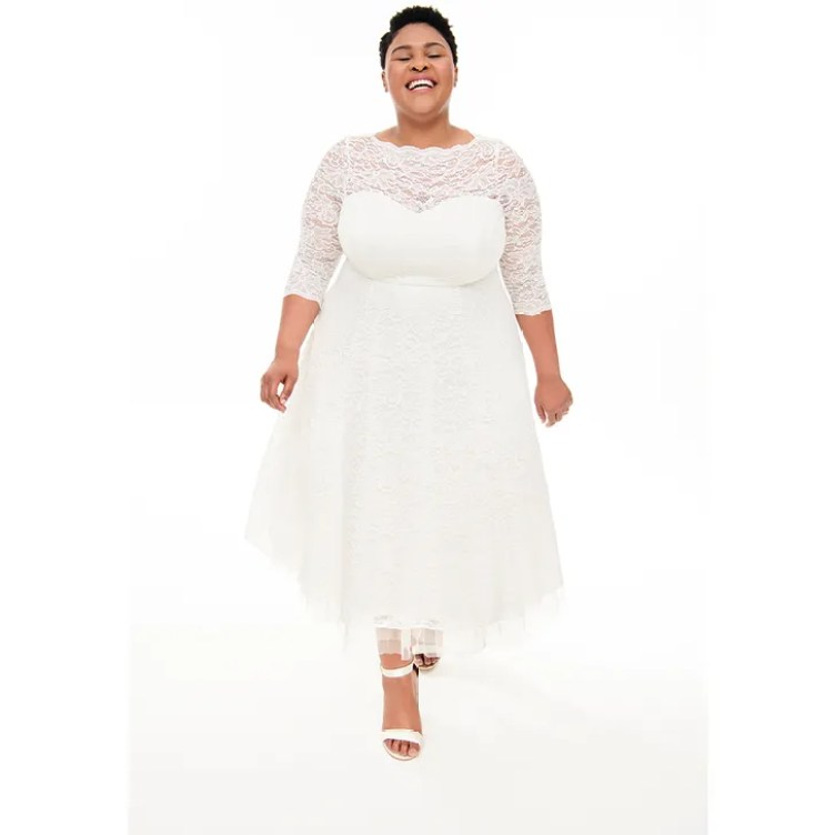 Special Occasion White Lace Midi Dress