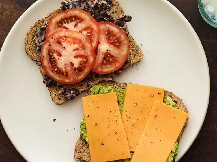 Smashed Black Bean, Tomato, and Avocado Sandwich from SELF