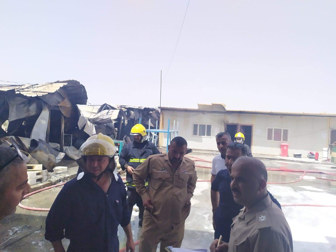 """حريق جديد في العراق.. والنيران تلتهم """"كرفانات"""" في النجف"""