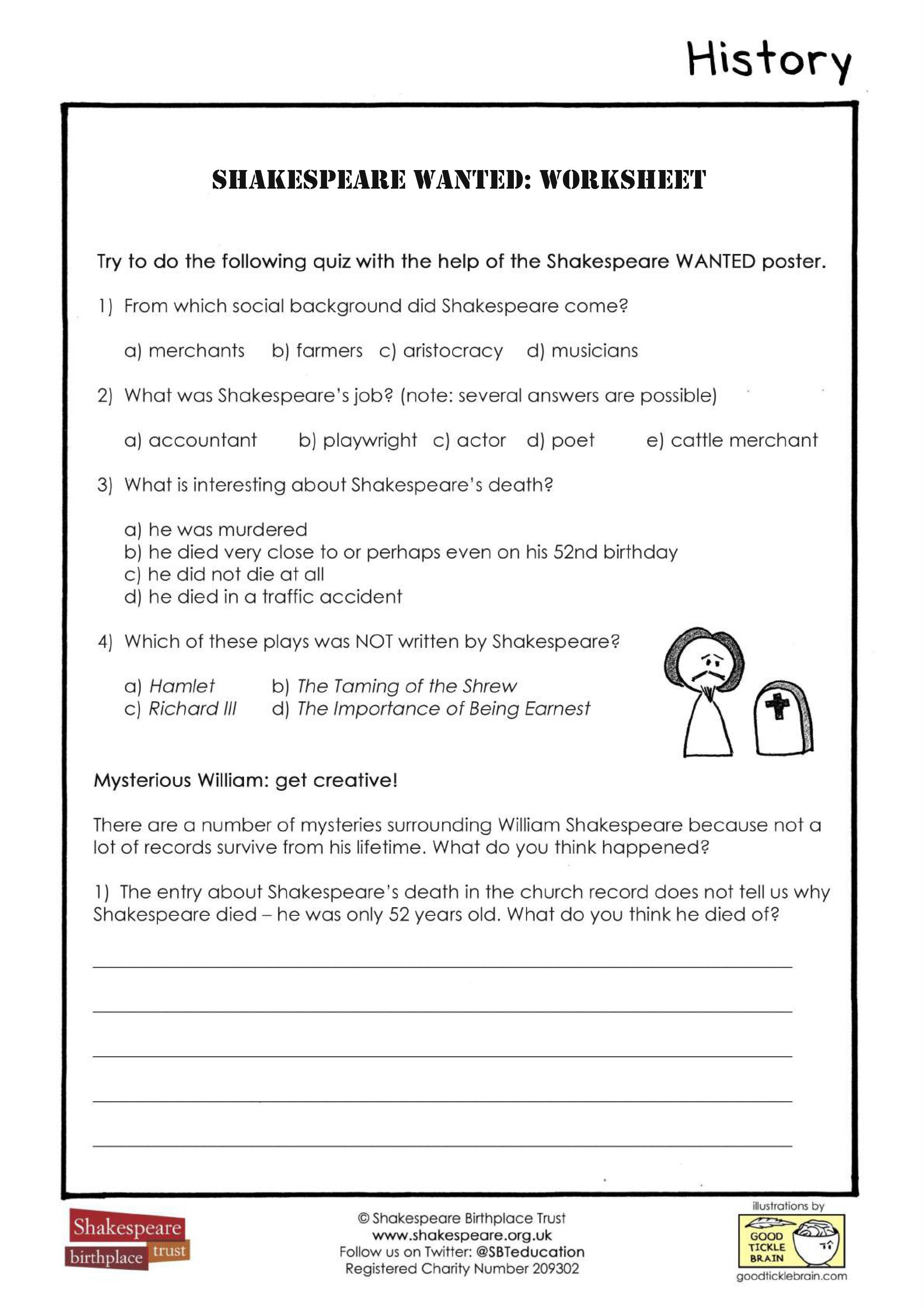 Shakespeare Wanted Worksheet