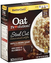 Better Oats Oatmeal Instant with Flax Maple Brown