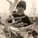 Skandinaviens största ren, står det på kortet, Nils Teilus 71 år. Fotot taget i Kuri i januari 1958.