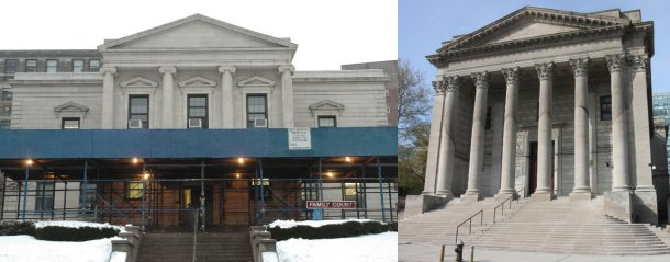 Family Court, left, seen undergoing renovations in this 2007 file photo, and the former state Supreme Court building in St. George, will undergo a combined $162 million facelift, under a multi-phased project expected to take a number of years to complete. (Staten Island Advance)