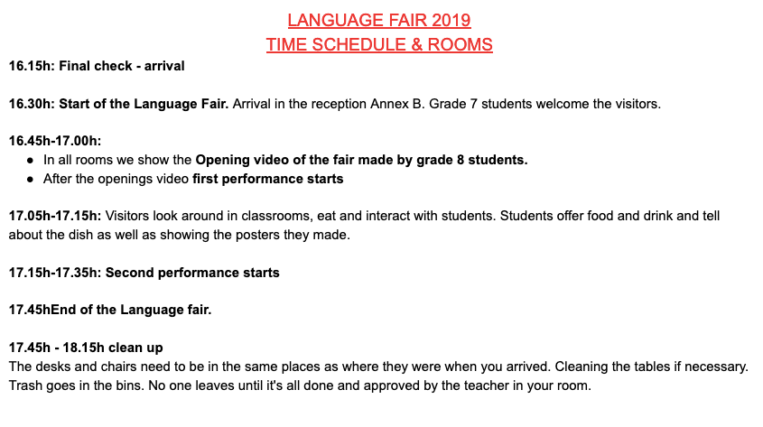 Language Fair Program