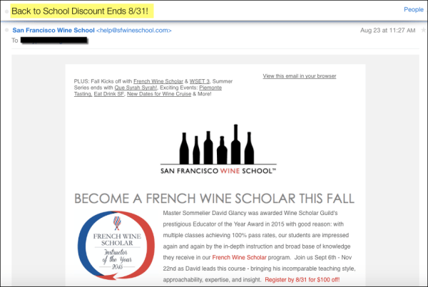 Back to School subject lines - SFWineSchool
