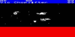 Choplifter till VIC-20, kanske ingen större grafisk skönhet med dagens mått mätt.