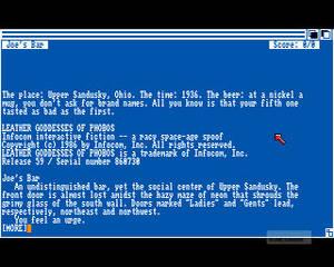 Leather Goddesses of Phobos till Amiga 500. Ja, det såg faktiskt ut så.