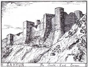 T.E. Lawrence egen teckning av slottet i Sahyun, som skulle kunna vara en av förebilderna till slottet i Syrien i Drake's Deception.