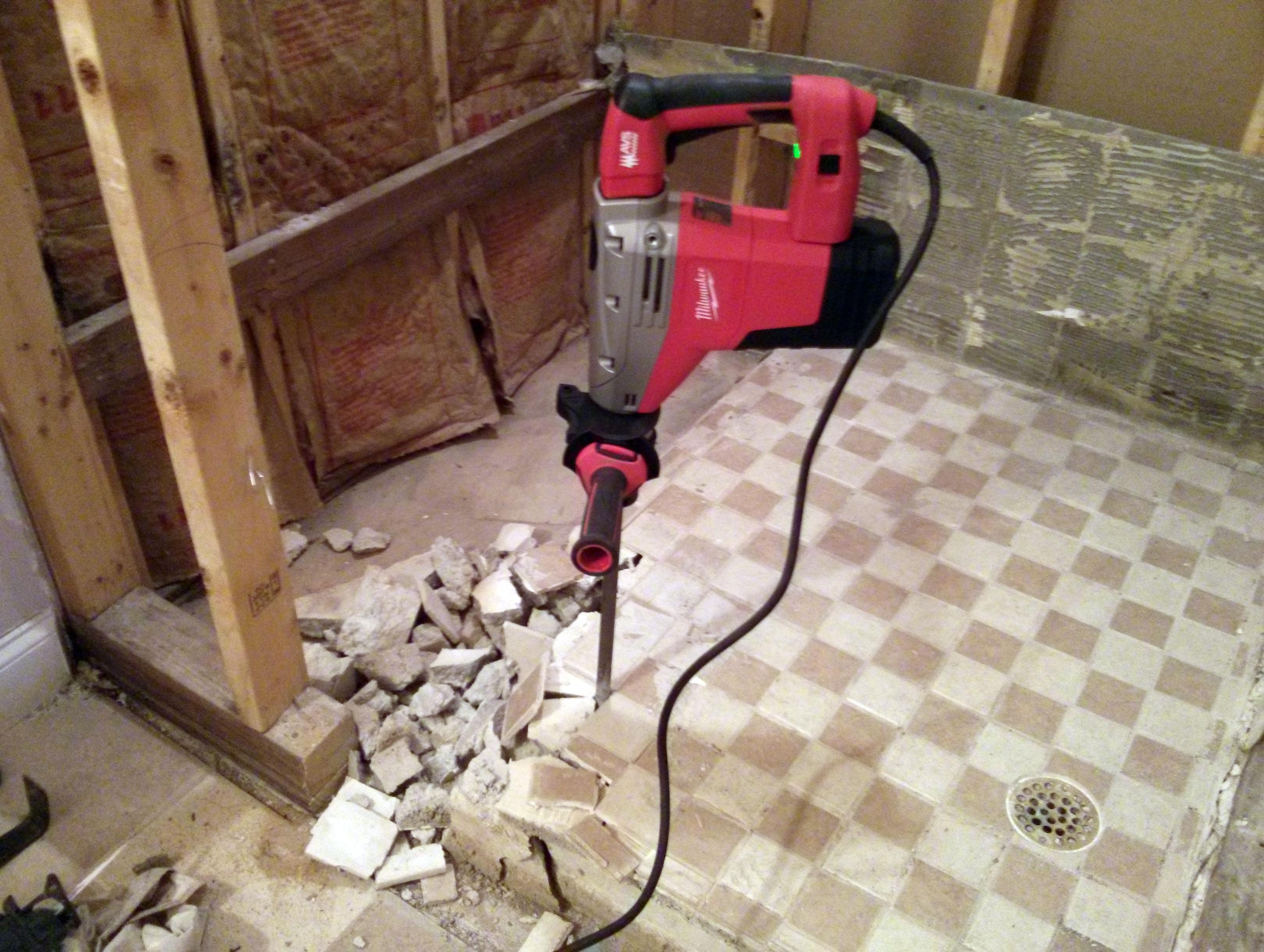 Hammer Drill Makes Removing Old Shower Pan Much Easier
