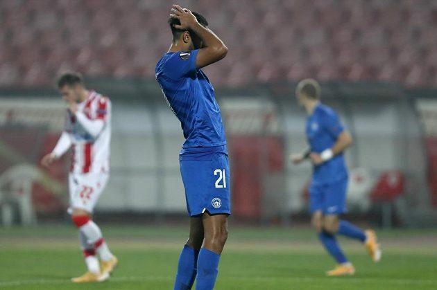 Игрок команды Либерец Абдаллах Юсуф Хилал во время матча с Чехом Белеградом.